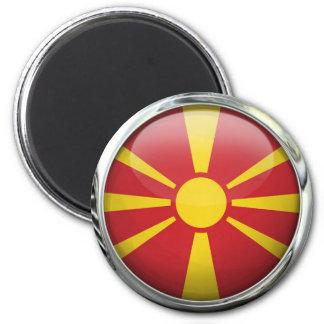 Macedonia Flag Round Glass Ball Magnet