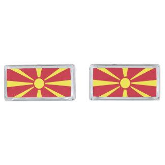Macedonia Flag Silver Cufflinks