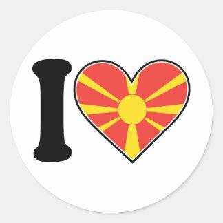 Macedonia Heart Flag Classic Round Sticker