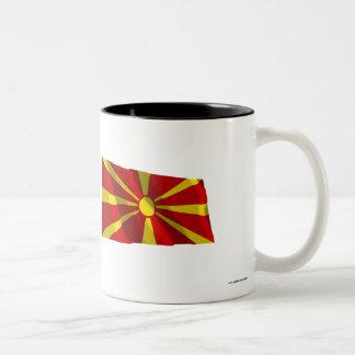 Macedonia Waving Flag Two-Tone Coffee Mug