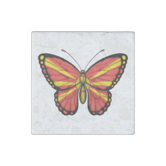 Macedonian Butterfly Flag Stone Magnet