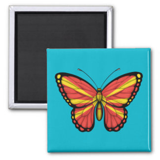 Macedonian Butterfly Flag 2 Inch Square Magnet