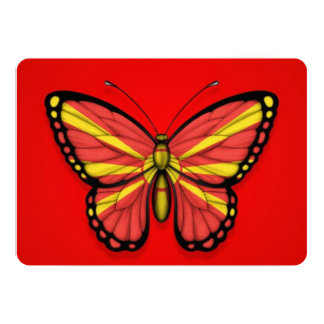 """Macedonian Butterfly Flag on Red 5"""" X 7"""" Invitation Card"""