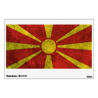 Macedonian Flag Aged Steel Effect Wall Decal