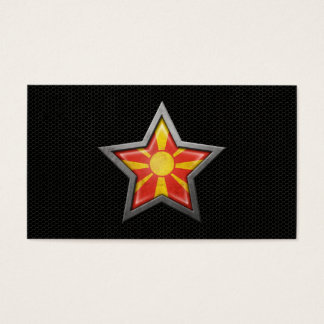 Macedonian Flag Star with Steel Mesh Effect Business Card