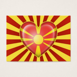 Macedonian Heart Flag with Star Burst Business Card