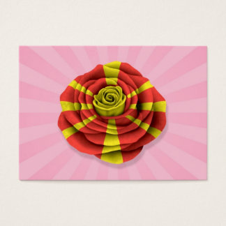 Macedonian Rose Flag on Pink Business Card