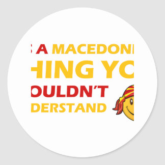 MACEDONIAN smiley design Classic Round Sticker