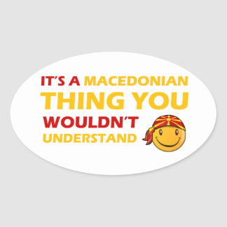 MACEDONIAN smiley design Oval Sticker
