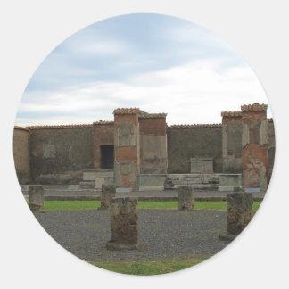 Macellum (mercados) en Pompeya antiguo Pegatina Redonda