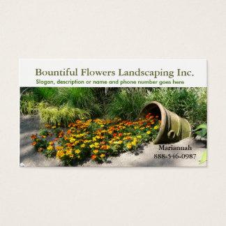 Maceta que derrama las flores paisajista o tarjetas de visita