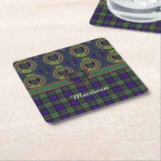 Macewen clan Plaid Scottish tartan Square Paper Coaster
