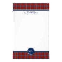 MacFarlane Clan Tartan Red and Blue Plaid Monogram Stationery
