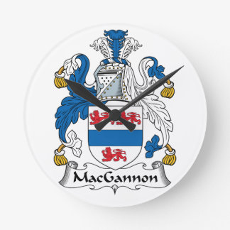MacGannon Family Crest Round Wallclock