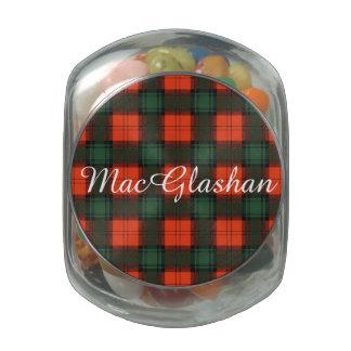 MacGlashan clan Plaid Scottish kilt tartan Glass Jars