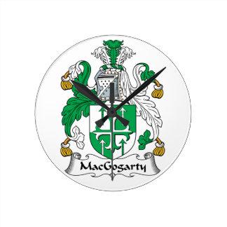 MacGogarty Family Crest Round Clock