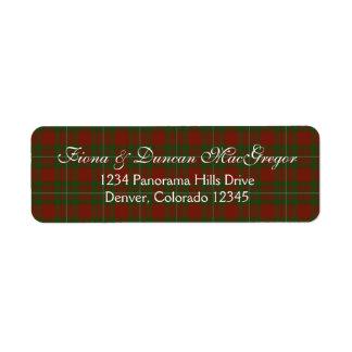 MacGregor Cardney Tartan Scottish Return Address Label