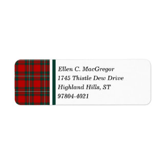 MacGregor Clan Red and Forest Green Tartan Label