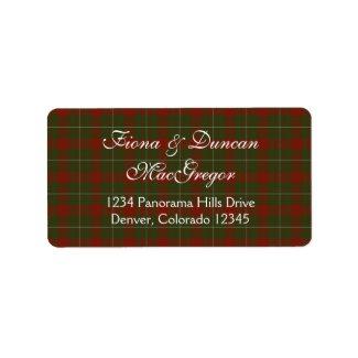 MacGregor of Cardney Tartan Return Address Label label