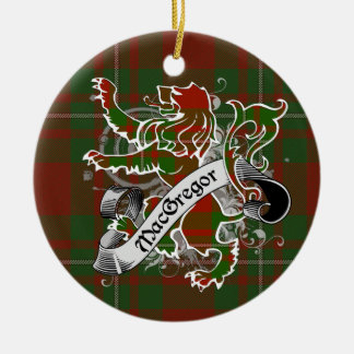 MacGregor Tartan Lion Double-Sided Ceramic Round Christmas Ornament