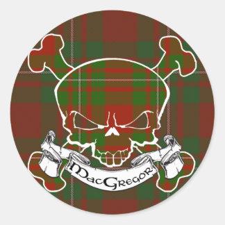 MacGregor Tartan Skull Classic Round Sticker