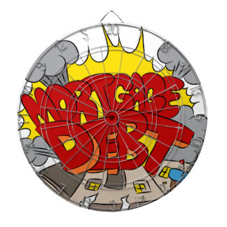 Machacamiento del dibujo animado de la deuda tabla dardos