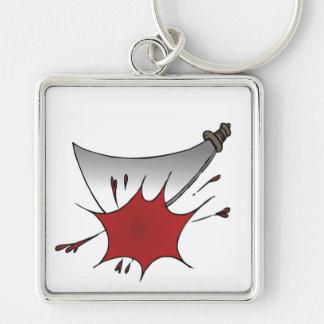 Machete Massacre Silver-Colored Square Keychain