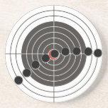 Machine gun bullet holes over shooting target drink coaster