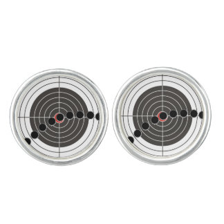 Machine gun bullet holes over shooting target cufflinks