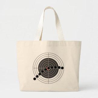 Machine gun bullet holes over shooting target large tote bag