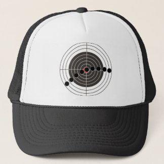 Machine gun bullet holes over shooting target trucker hat