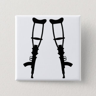 Machine Gun Crutches - End War Peace Button
