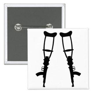 Machine Gun Crutches - End War Peace Button