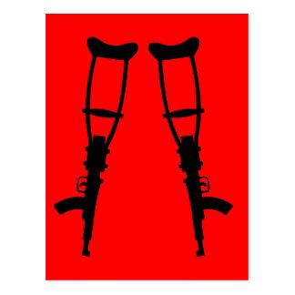 Machine Gun Crutches - End War Peace Postcard
