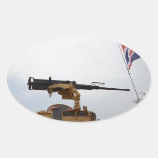 Machine Gun On Personnel Carrier Oval Sticker