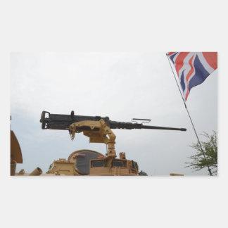 Machine Gun On Personnel Carrier Rectangular Sticker