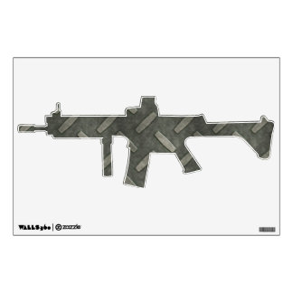 Machine Gun With Diamond Plate Steel Wall Sticker