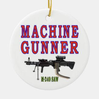 MACHINE GUNNER M-240 Double-Sided CERAMIC ROUND CHRISTMAS ORNAMENT