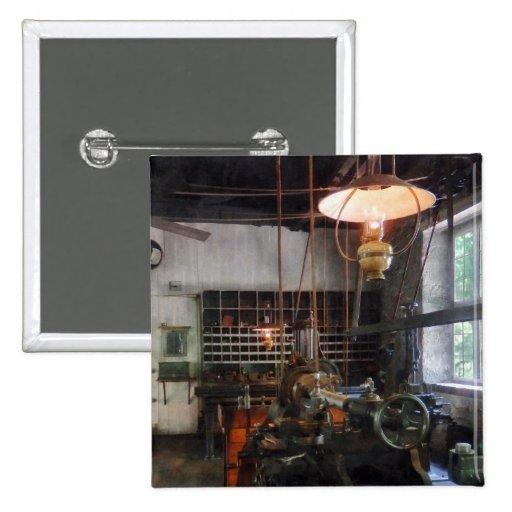 Machine Shop With Lantern Pinback Buttons