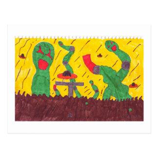 Machine worms postcard