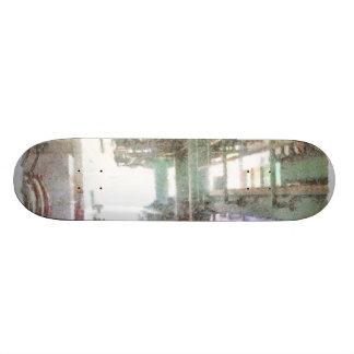 Machinery in a factory custom skate board