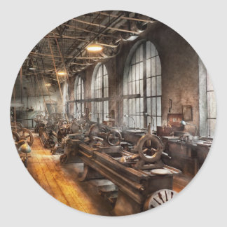 Machinist - A room full of Lathes Classic Round Sticker