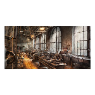 Machinist - A room full of Lathes Photo Card