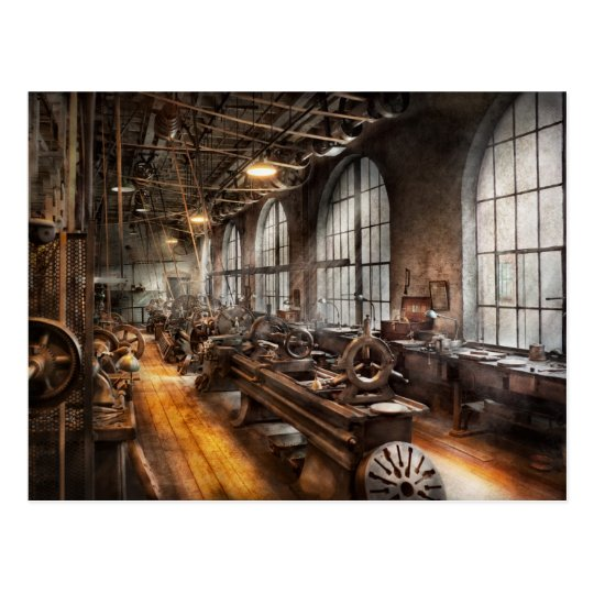 Machinist - A room full of Lathes Postcard