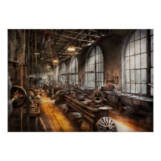 Machinist - A room full of Lathes Print