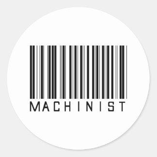 Machinist Bar Code Classic Round Sticker