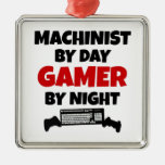 Machinist by Day Gamer by Night Square Metal Christmas Ornament