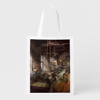 Machinist - Lathe - A long lathe Grocery Bags