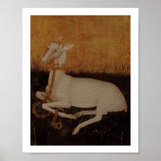 Macho blanco del ciervo en fondo de oro póster