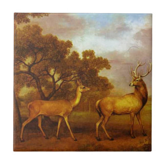 Macho del ciervo común y trasero de George Stubbs Azulejo Cuadrado Pequeño